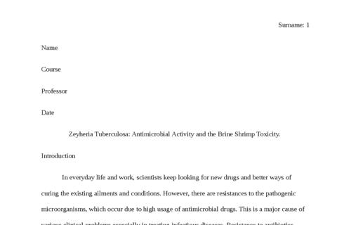 Zeyheria Tuberculosa: Antimicrobial Activity and the Brine Shrimp Toxicity.