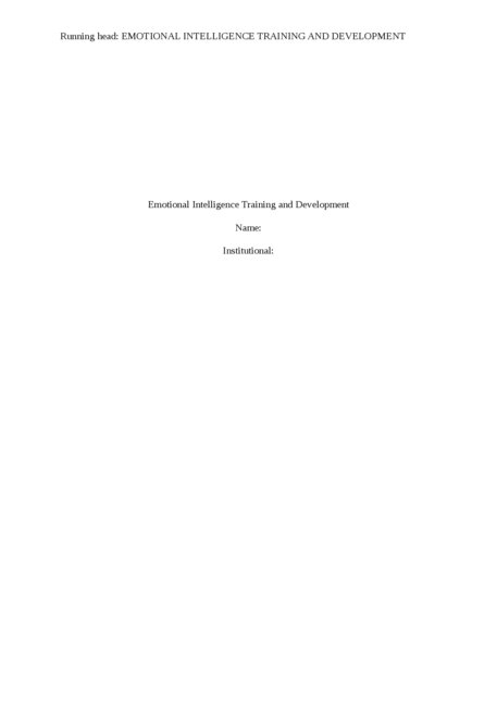Emotional Intelligence Training and Development - Page 1