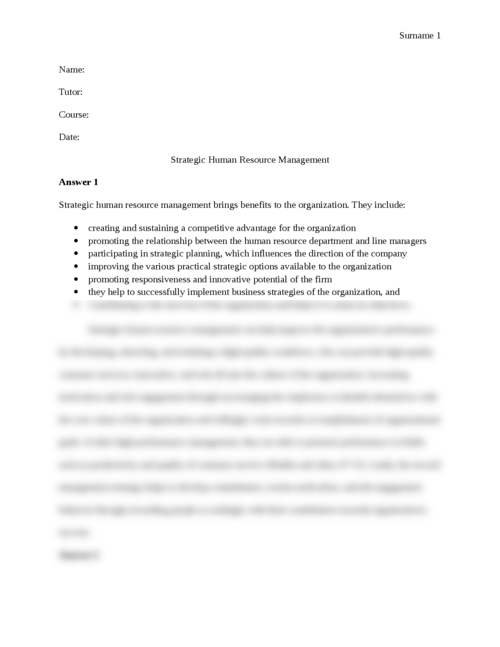 Strategic Human Resource Management - Page 1