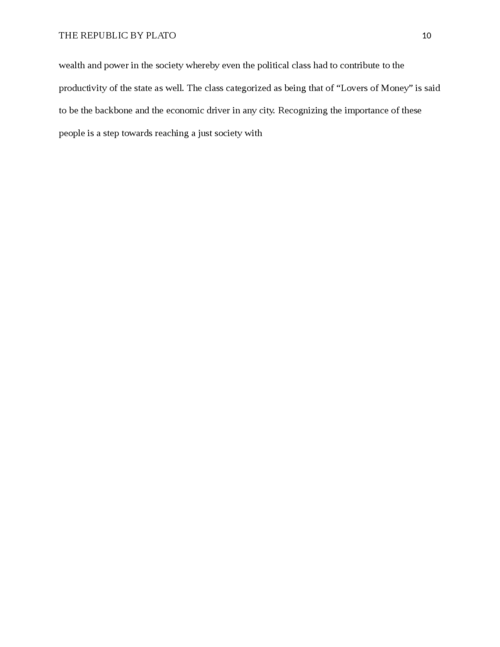 Research paper on The Republic by Plato - Page 10