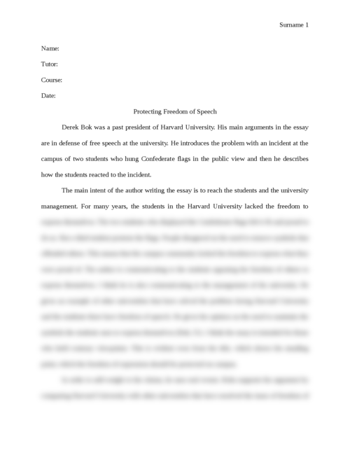 Protecting Freedom of Speech - Page 1