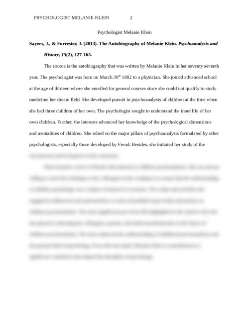 Psychologist Melanie Klein - Page 2
