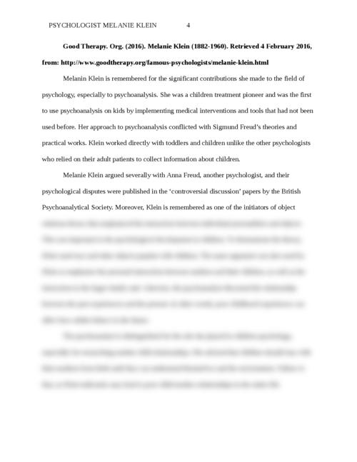 Psychologist Melanie Klein - Page 4