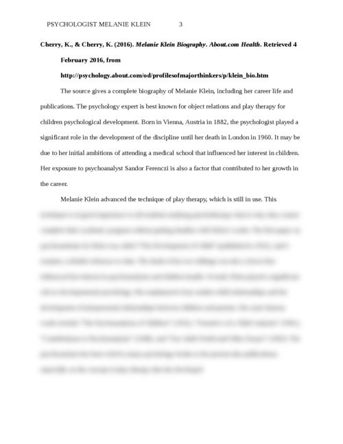 Psychologist Melanie Klein - Page 3