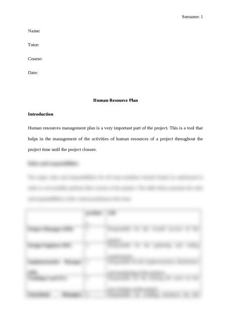 Human Resource Plan