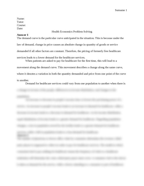 Health Economics Problem Solving - Page 1