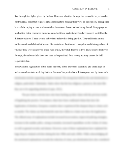 "Argumentative essay on ""Abortion in Europe"" - Page 6"