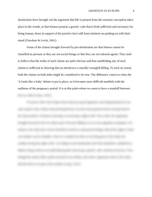 "Argumentative essay on ""Abortion in Europe"" - Page 4"