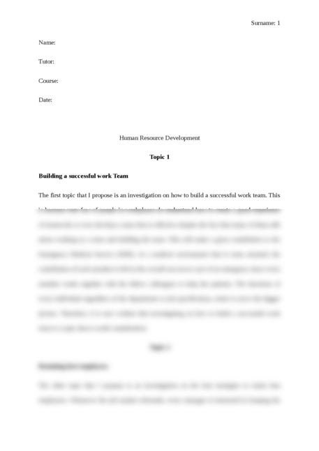Human Resource Development: Building a successful work Team
