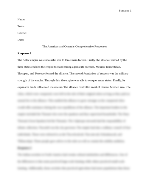 The Americas and Oceania: Comprehensive Responses - Page 1