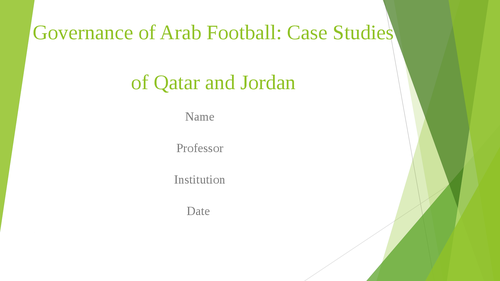 Governance of Arab Football: case studies of Qatar and Jordan - Page 1
