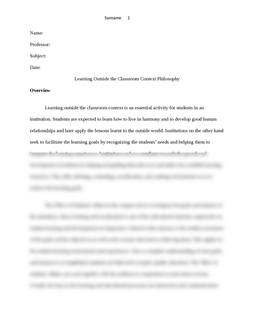 Learning Outside the Classroom Context Philosophy - Page 1