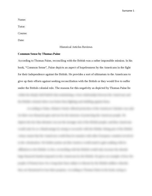 Historical Articles Reviews