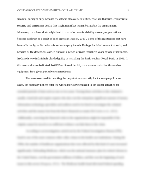 How To Write An Application Essay For High School Cost Associated With Whitecollar Crime  Page  Animal Testing Essay Thesis also Essay On Health And Fitness Cost Associated With White Collar Crime  Papers Marketplace An Essay On Science