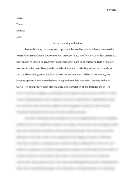 Service-learning reflection paper - Page 1