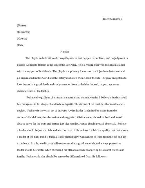 Custom hamlet essays