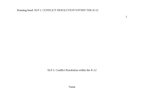 SLP 1: Conflict Resolution within the K-12