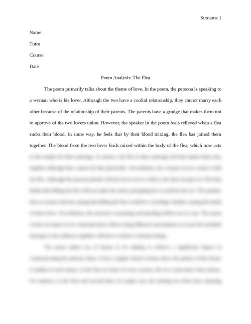 Poem Analysis: The Flea