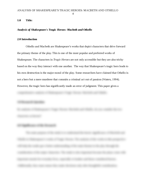 Analysis of Shakespeare's Tragic Heroes: Macbeth and Othello - Page 4