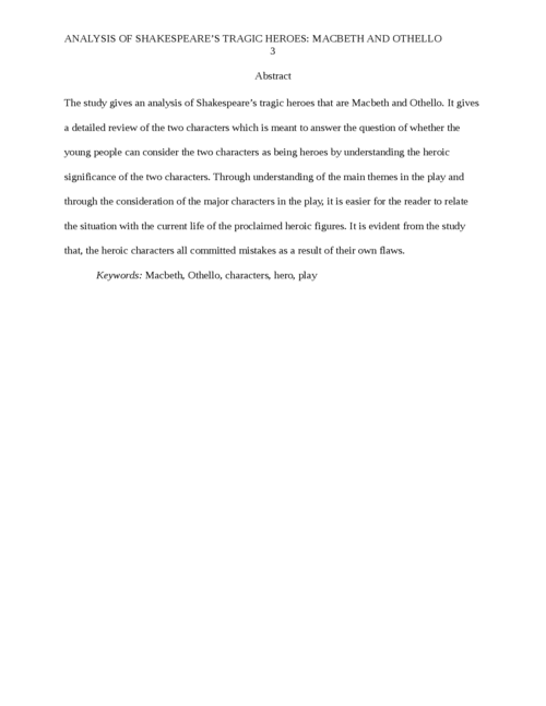 Analysis of Shakespeare's Tragic Heroes: Macbeth and Othello - Page 3