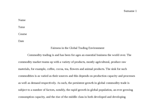 Fairness in the Global Trading Environment
