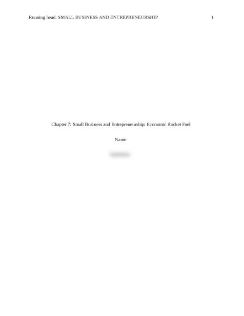 Small Business and Entrepreneurship: Economic Rocket Fuel