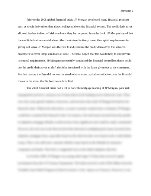 The Effect of the Financial Crisis on JP Morgan Chase and how the Firm Reacted - Page 2