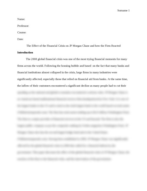 The Effect of the Financial Crisis on JP Morgan Chase and how the Firm Reacted - Page 1