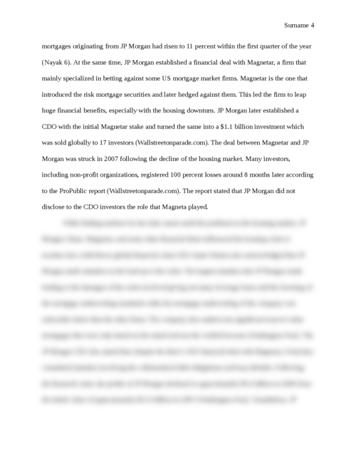 The Effect of the Financial Crisis on JP Morgan Chase and how the Firm Reacted - Page 4
