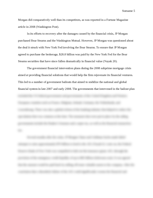 The Effect of the Financial Crisis on JP Morgan Chase and how the Firm Reacted - Page 5