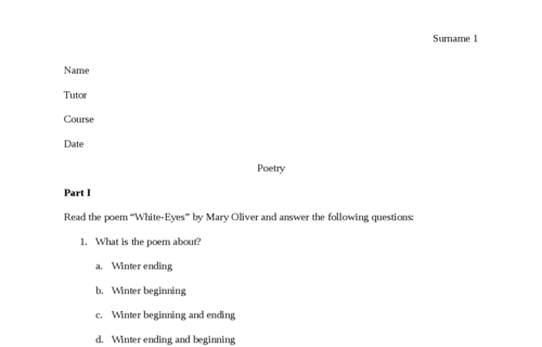 Poem Questions