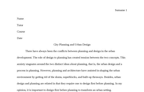 City Planning and Urban Design
