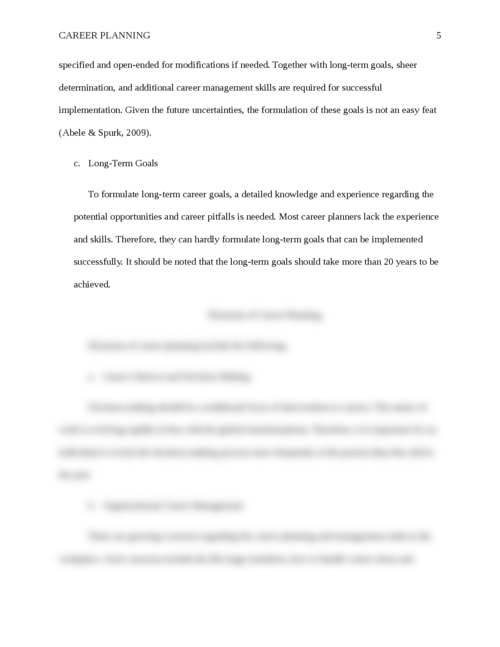 Essay on Career Planning - Page 5