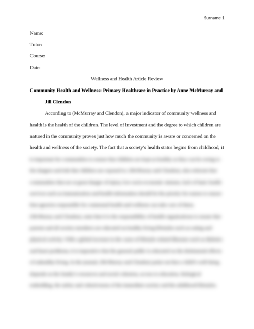 Wellness and Health Article Review - Page 1