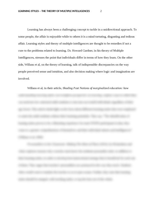 Multiple intelligences essay