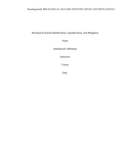 Mechanical Hazard Case Study