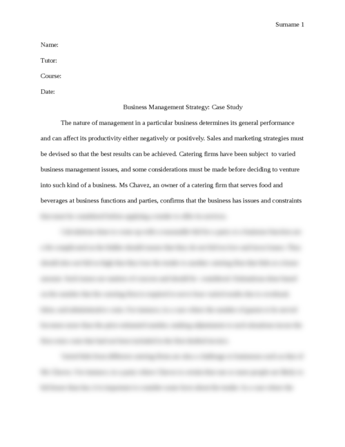 Business Management Strategy: Case Study