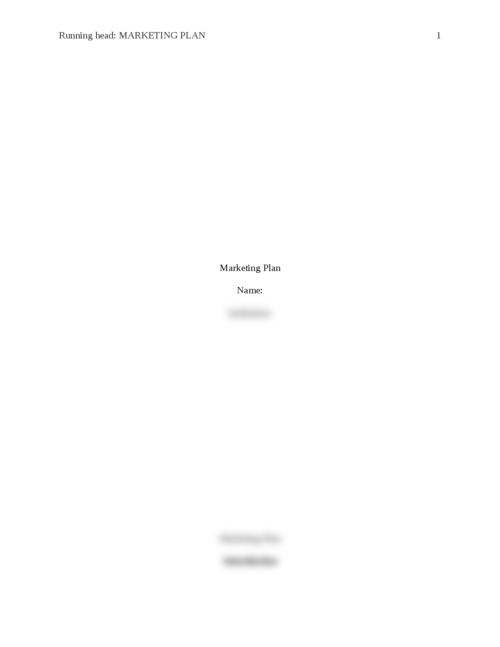 Marketing Plan pt 1 - Page 1
