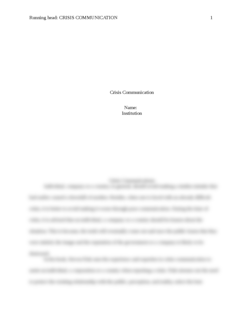 Crisis Communications - Page 1