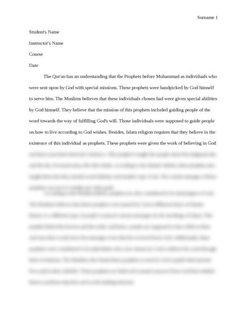 research essay on Prophet Muhammad - Page 1