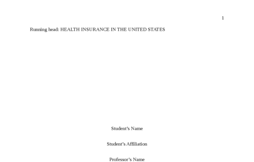 Health Insurance in USA