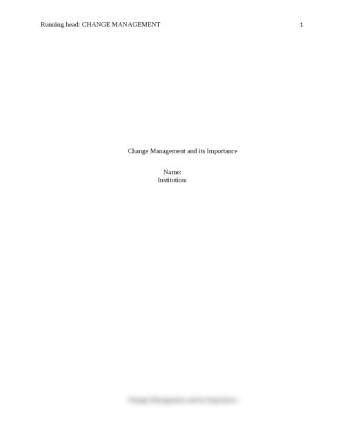 Change Management and its Importance - Page 1