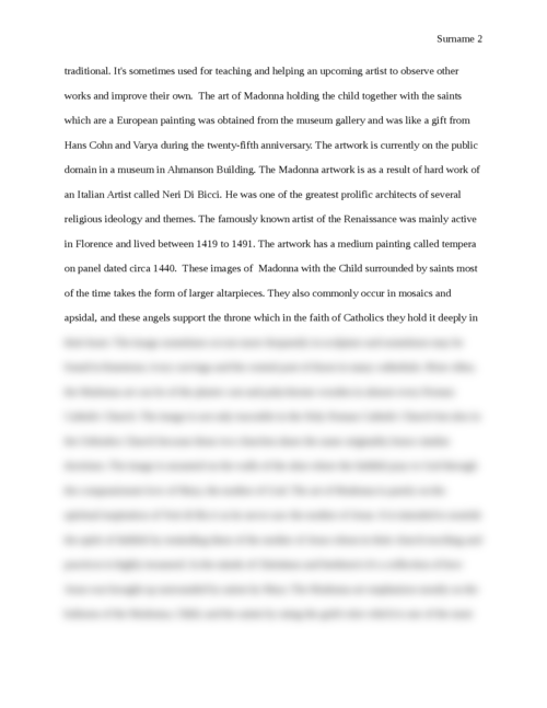 Essay on The Madonna Art work - Page 2