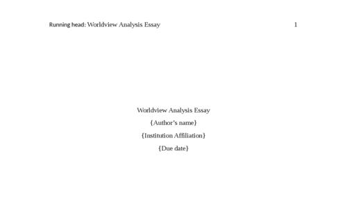 Worldview Analysis Essay