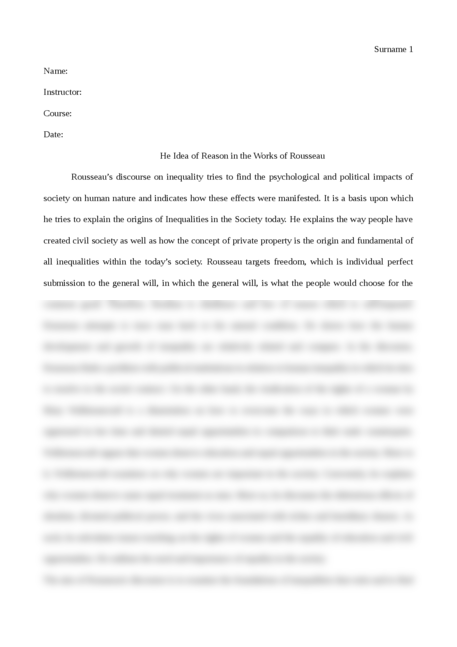 The Idea of Reason in the Works of Rousseau - Page 1