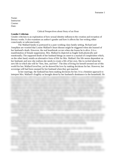 Critical Perspectives about Story of an Hour - Page 1