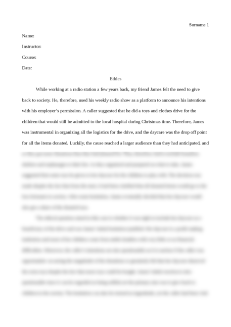 Essay on an ethical question - Page 1