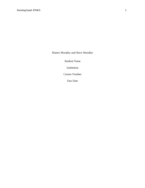 Master Morality and Slave Morality - Page 1