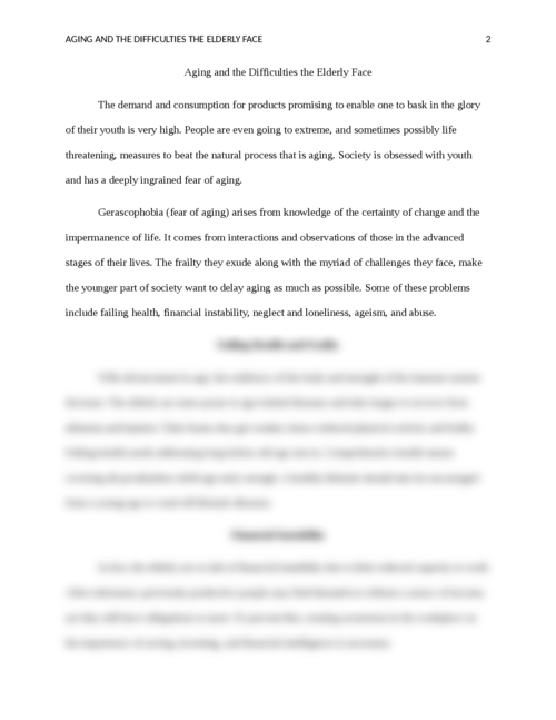 Aging and the Difficulties the Elderly Face - Page 2