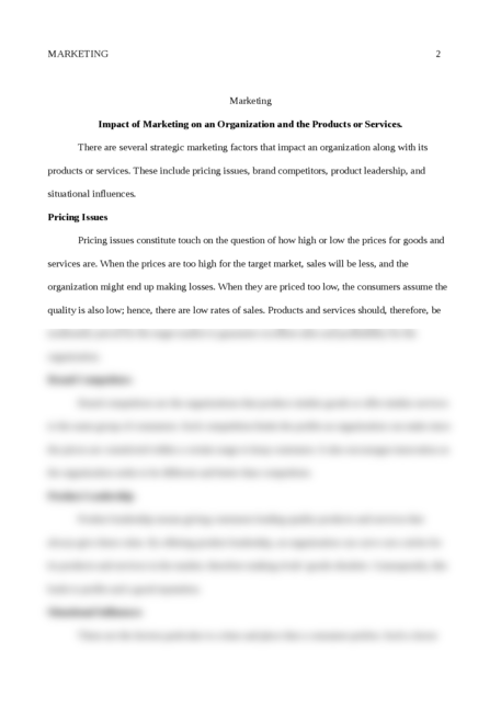 Impact of Marketing on an Organization and the Products or Services. - Page 2